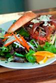 Blue Moon Burger with salad