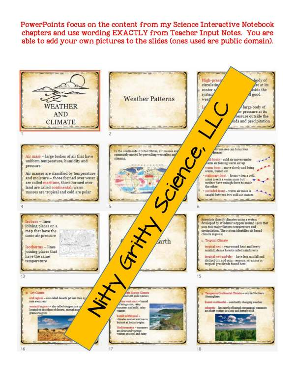 2272725 Page 5 - Weather & Climate: Earth Science PowerPoint, Notes & Test ~ EDITABLE!