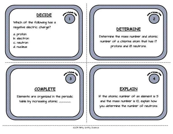 Atoms and Periodic Table Page 03 Copy - Physical Science Task Card Bundle - 400+ task cards!