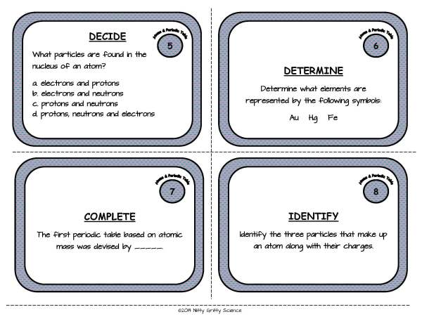 Atoms and Periodic Table Page 04 - Atoms and the Periodic Table: Physical Science Task Cards
