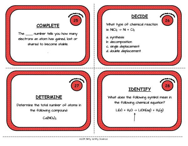 Chemical Bonds and Equations Page 09 - Chemical Bonds and Equations: Physical Science Task Cards