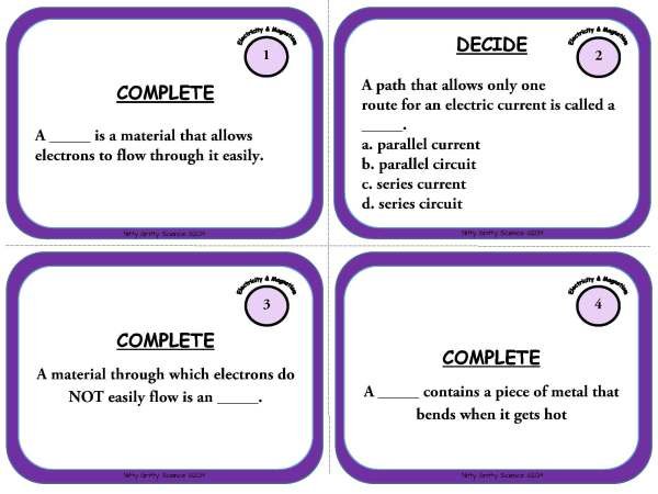 Electricity and Magnetism Page 03 - Electricity and Magnetism: Physical Science Task Cards