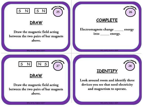 Electricity and Magnetism Page 09 - Electricity and Magnetism: Physical Science Task Cards