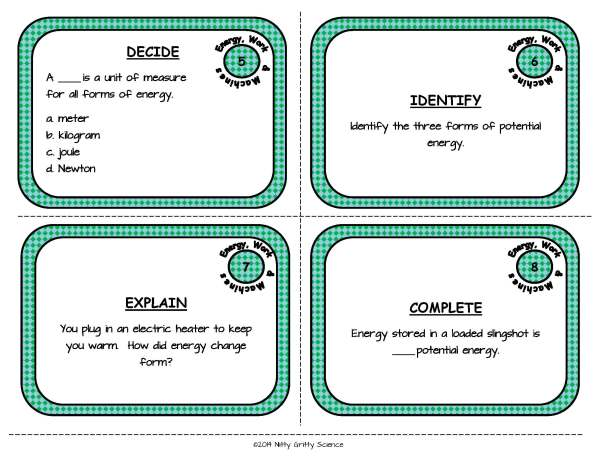 Energy Work and Machines Page 04 - Energy, Work and Simple Machines: Physical Science Task Cards