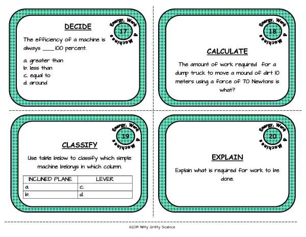 Energy Work and Machines Page 07 - Physical Science Task Card Bundle - 400+ task cards!