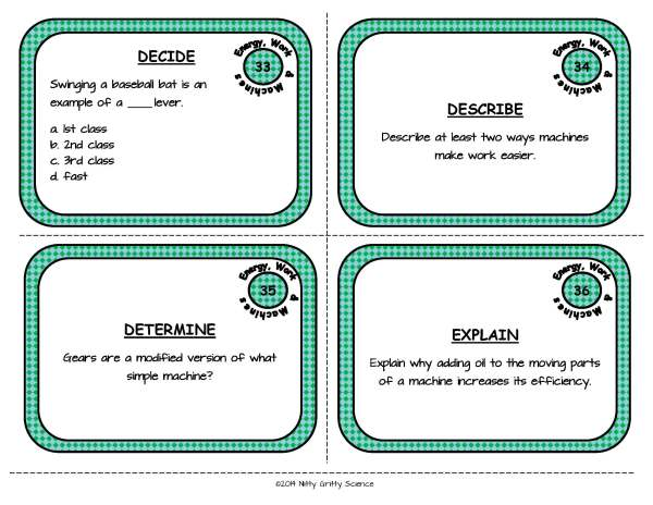 Energy Work and Machines Page 11 - Energy, Work and Simple Machines: Physical Science Task Cards