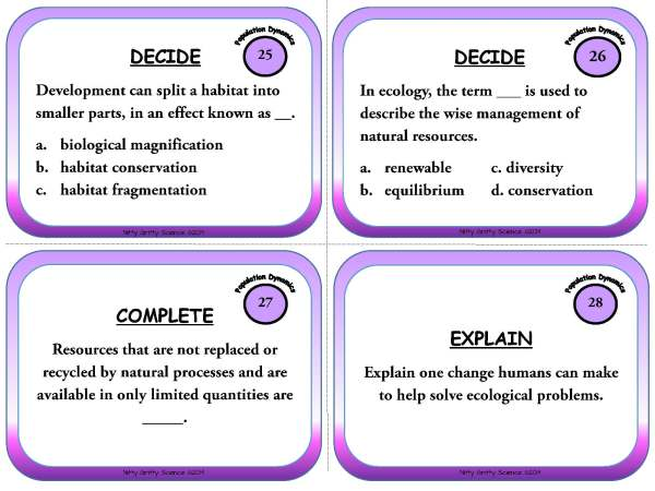 Population Dynamics Page 09 - Population Dynamics: Life Science Task Cards