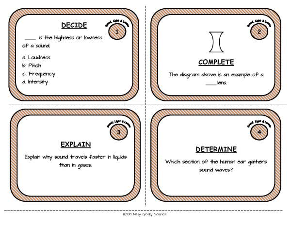 Sound Light Lenses Page 03 - Sound, Light, Mirrors and Lenses: Physical Science Task Cards