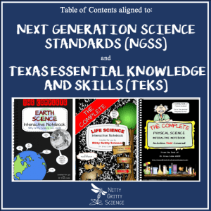 TOC - Science Interactive Notebooks - Table of Contents aligned to NGSS and TEKS