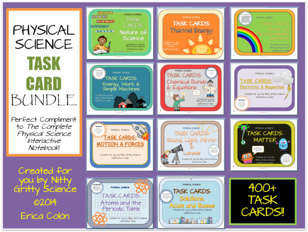 Task Card Bundle 1 - PHYSICAL SCIENCE CURRICULUM - THE COMPLETE COURSE ~ 5 E Model