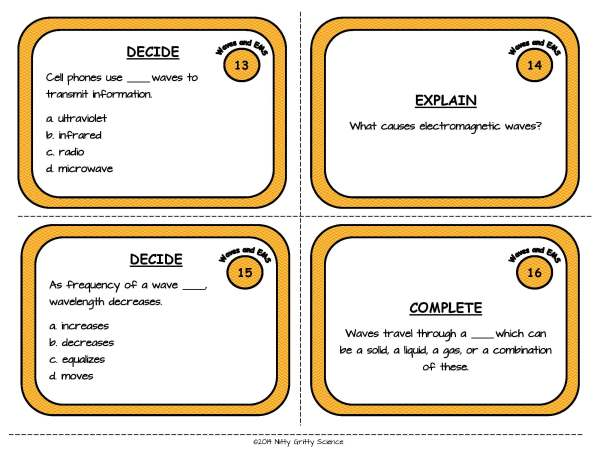 Waves and EMS Page 06 - Physical Science Task Card Bundle - 400+ task cards!
