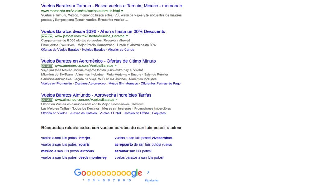 Primera Página de Resultados en Google con AdWords Abajo