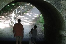 Scott scared the kids with ghost stories while walking through this tunnel.