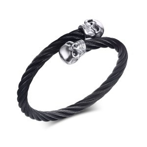 VNOX-Men-s-Skull-Bangle-Bracelet-Punk-Black-Twisted-Wire-Cable-Cuff-Skeleton-Stainless-Steel-Jewelry_silver skull