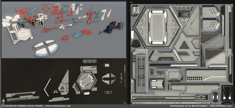 Texture sheet and lowpoly pieces in Substance painter next to final kit of meshes, derived from these (and base wall textures) ..Clean scifi is inherently quite abstract, so there's a huge potential of mixing and matching to create variants of assets .