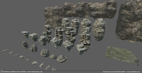 Full kit of rocks for the game All by me except the 2nd row, which i just retextured from a stock kit. In the end , it was quite important to have plenty scale variations with specific models, but Substance materials meant i could texture quickly, and also the original base sculpt is the same for most , just 'remixed' and joined differently.