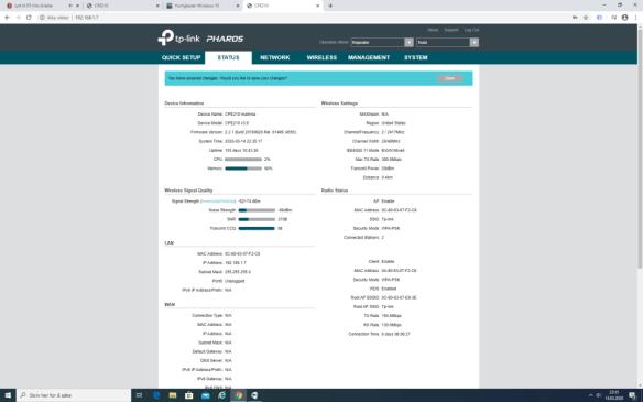 TP-Link CPE210 Repeater Status
