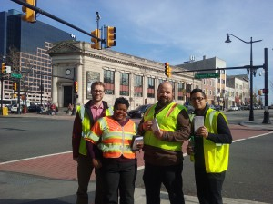 Newark employees ready to hand out Street Smart information at an intersection by the train station Source: Lorena Guadiana // Alan M. Voorhees Transportation Center