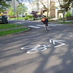 Turning sharrow in Portland. Source: NACTO via Flickr (CC non-commercial license)