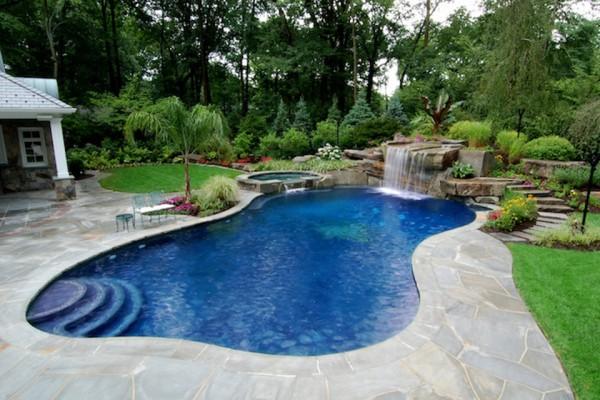 tropical backyard waterfalls