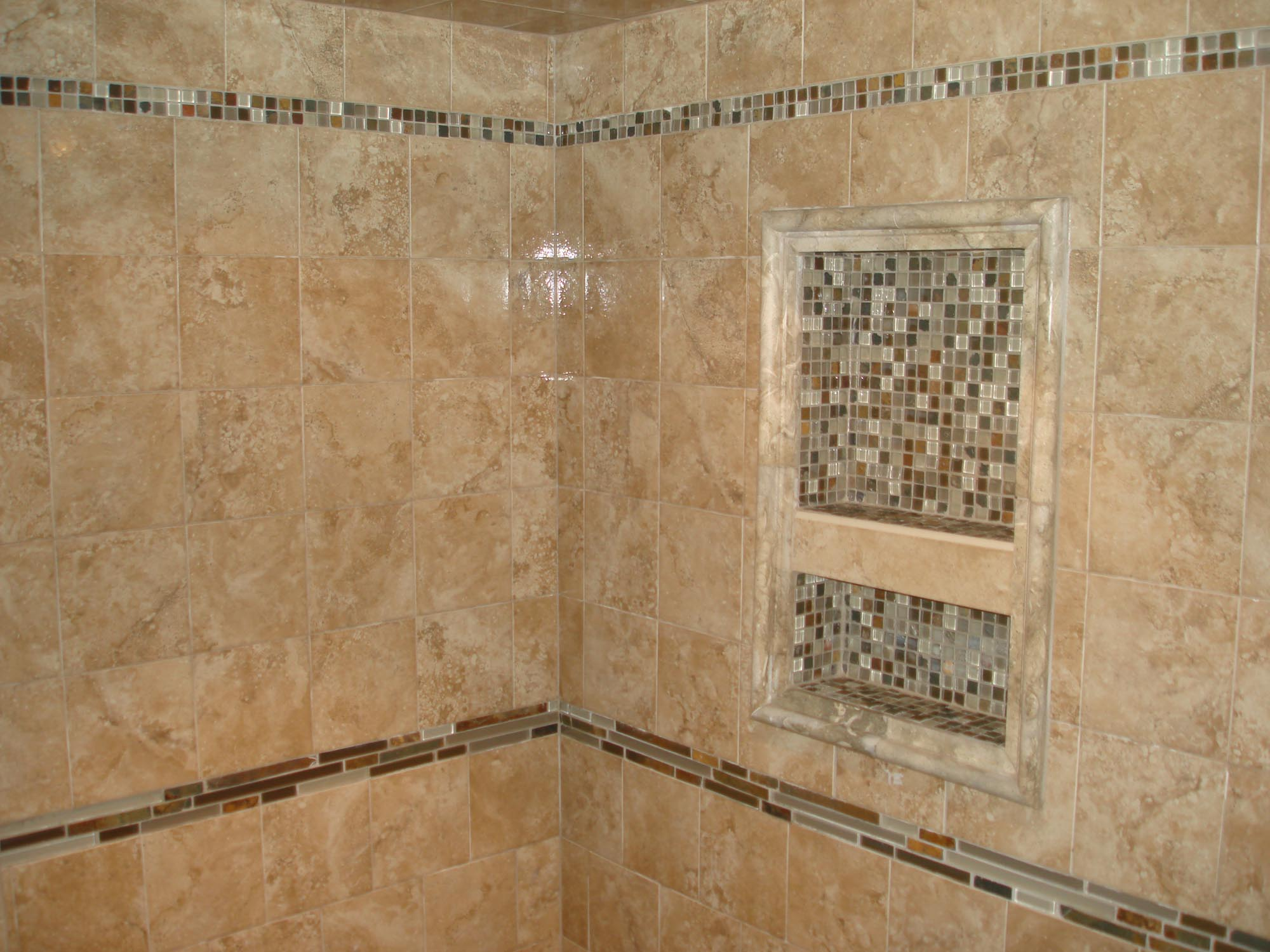Porcelain Tile Shower With Glass And Slate Borders And