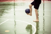 Barefoot Playing Soccer