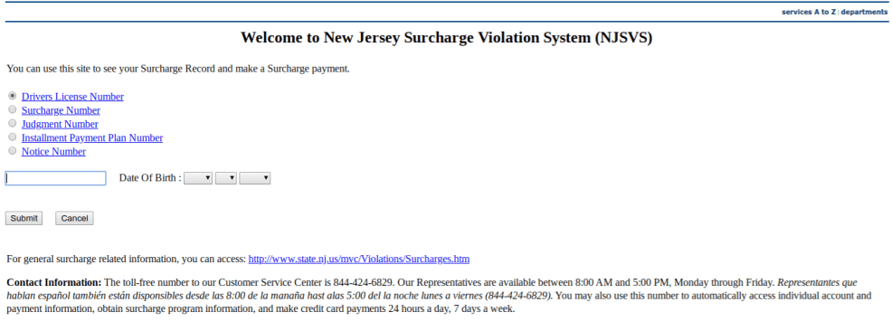 NJSurcharge pay online