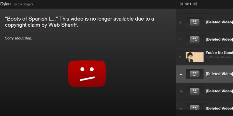 Web Sheriff Is Back Deleting Dylan Videos - Watch The Weight Before