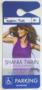 Shania Twain Charlottetown parking pass