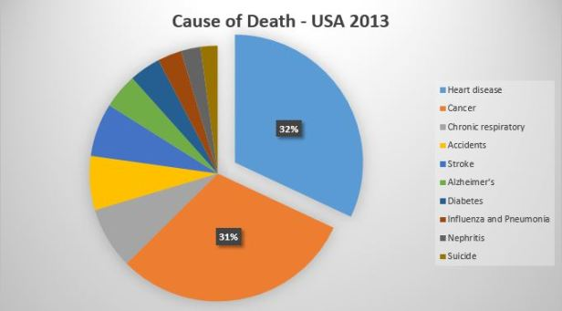Cause of Death in the United States 2013, date by Center for Disease Control, chart by NJN Network