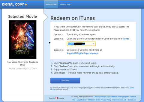 Redemption code for iTunes or Google Play