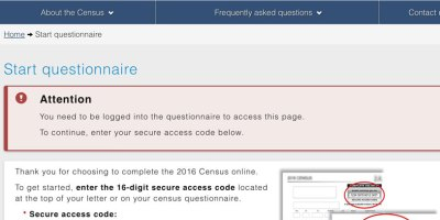 Statistics Canada 2016 Census fails to allow users to save their forms