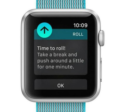 Time to roll suggestion for wheelchair users on Apple Watch 3.0 (screen shot from Apple video)