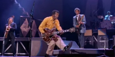 Chuck Berry and Keith Richards in Hail! Hail! Rock N' Roll (YouTube, Taylor Hackford movie)