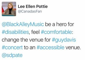 Facebook fans encourage the promoter to provide wheelchair access.