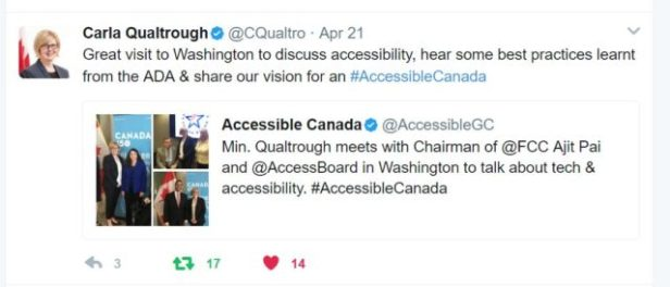 Minister Qualtrough visits Washington to discuss accessibility