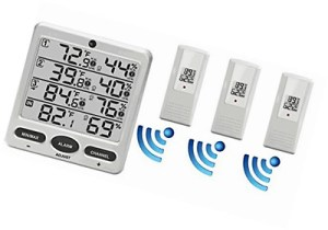 Ambient Weather WS-10-X4 Wireless Indoor/Outdoor 8 Channel Thermo-Hygrometer with Four Remote Sensors