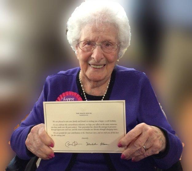 Mary Receives a birthday card from Washington!