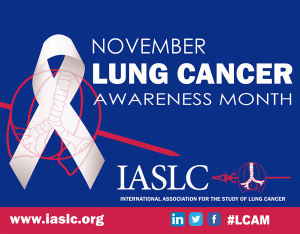 graphic from IASLC for Lung Cancer Awareness Month shows a white ribbon with the trachea superimposed on it.