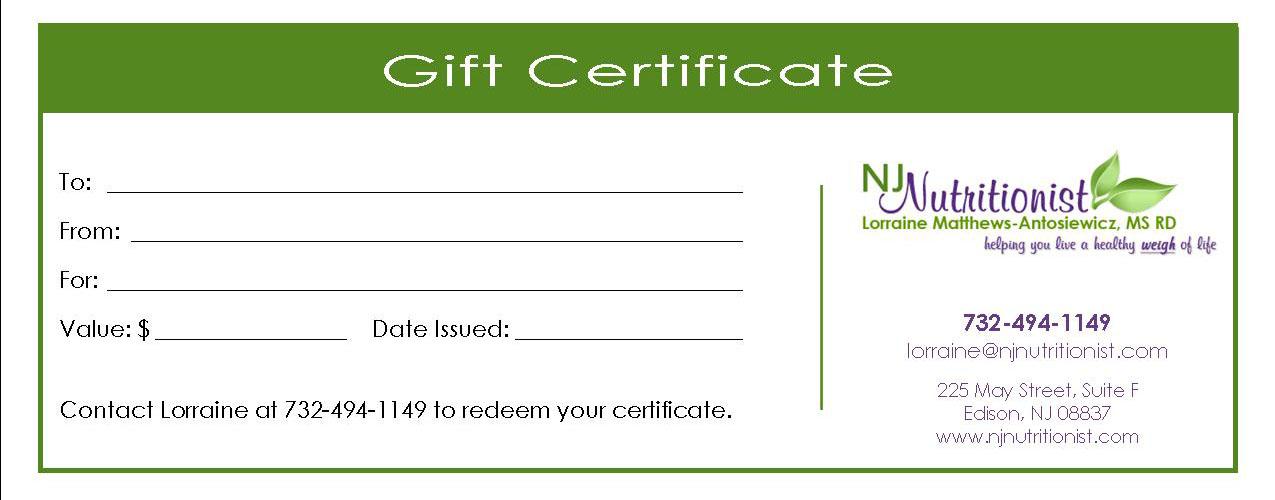 Gift Certificate Lorraine Matthews Antosiewicz MS RD
