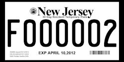 New Jersey Temporary License Plates