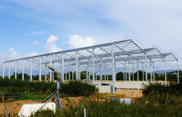 60 tons of steel was used on Newley Farm's 3 span building