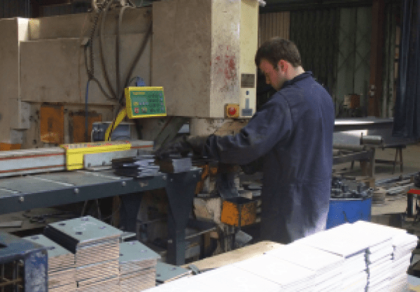 Plate stamping ready for hole drilling