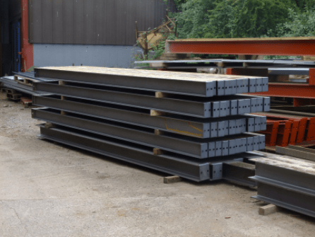 Raw steel for rafters ready for the workshop