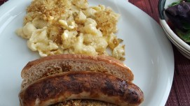 Bratwurst (the pale kind, not red) & mac 'n' cheese