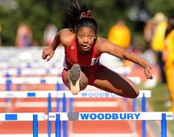 Taliya Rogers of Rancocas Valley in the shuttle hurdles at Saturday's Woodbury's relays.
