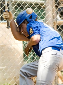 Brendan Looby of Washington Township is hit in the helmet by a pitch in the 5th inning of Saturday's American Legion game at Haddon Heights. Looby stayed in the game.