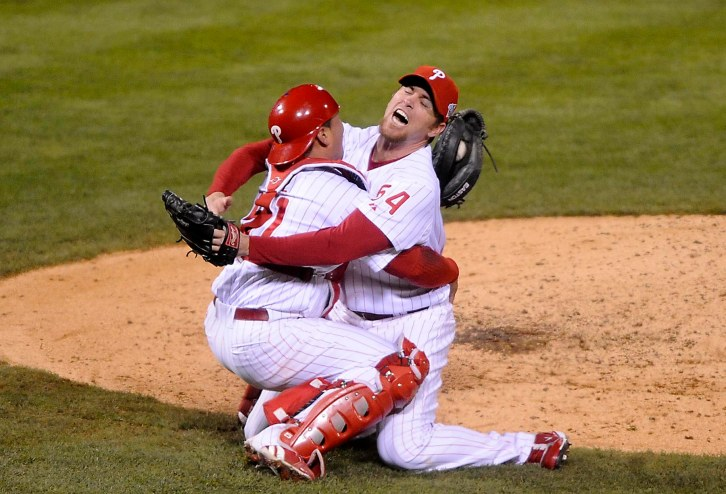 Philadelphia Phillies' Carlos Ruiz, left, and Brad Lidge react after the final out in Game 5 of the baseball World Series in Philadelphia, Wednesday, Oct. 29, 2008. The Phillies defeated the Tampa Bay Rays 4-3 to win the series.