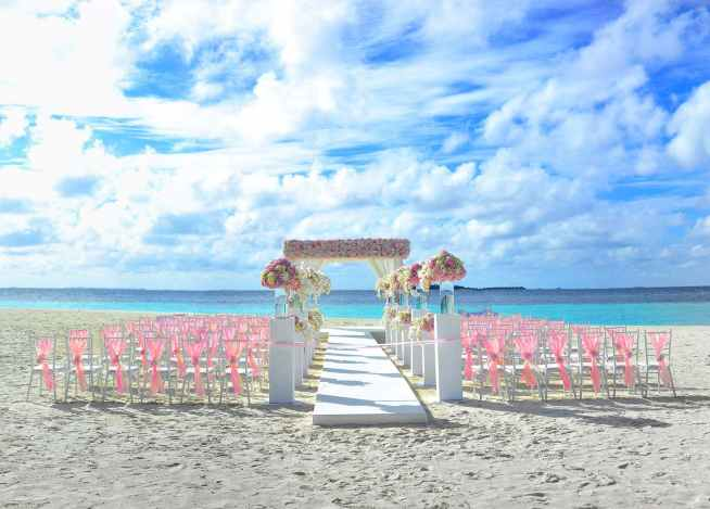 white and pink floral wedding decoration