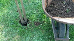 First post hole going in